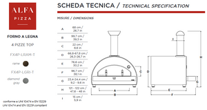 Countertop Technical Specifications of the ALFA 4 PIZZE outdoor pizza oven from the Great Outdoor Pizza Ovens Company