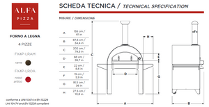Countertopwith Base Stand Technical Specifications of the ALFA 4 PIZZE outdoor pizza oven from the Great Outdoor Pizza Ovens Company