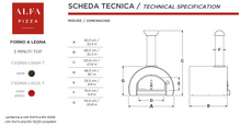 ALFA - 5 Minuti wood fired pizza oven Top Only Technical Specifications