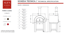 ALFA - 5 Minuti wood fired pizza oven Top with Base Technical Specifications