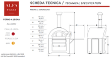Great Outdoor Pizza Ovens technical specifications Alfa Allegro outdoor wood-fired pizza oven