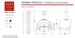 ALFA - CIAO Wood Fired Outdoor Pizza Oven technical specificatons.
