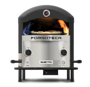 The Duetto Dual Burner Turntable Gas Fired Pizza Oven by Fornoteca can be converted and turned into a countertop oven in seconds.