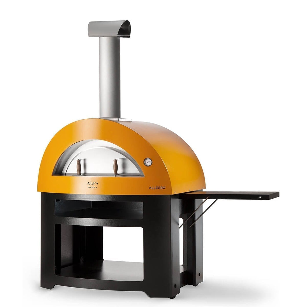 Great Outdoor Pizza Ovens yellow Alfa Allegro outdoor wood-fired pizza oven with cart and shelf