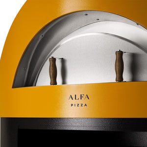 Great Outdoor Pizza Ovens yellow Alfa Allegro outdoor wood-fired pizza oven front view