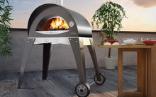 Great Outdoor Pizza Ovens gray Alfa Ciao outdoor wood-fired pizza oven with base on patio