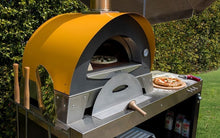 Great Outdoor Pizza Ovens yellow Alfa Ciao outdoor wood-fired pizza oven side view