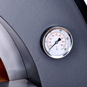 Great Outdoor Pizza Ovens gray Alfa Ciao outdoor wood-fired pizza oven thermometer close-up