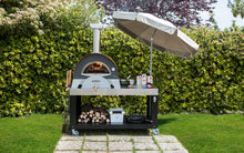 Stainless steel multi-functional base cart for your Great Outdoor Pizza Oven with plenty of space for food preparation (umbrella and oven not included)