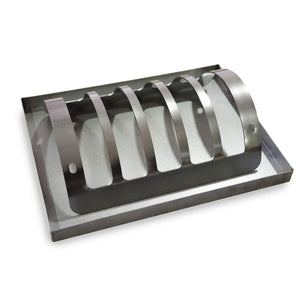 Prepare delicious ribs with the rib rack tool.  It allows you to stand ribs or meat pieces in an upright position. The tray for dripping fat is included.