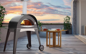 Great Outdoor Pizza Ovens gray Alfa Ciao outdoor wood-fired pizza oven on patio