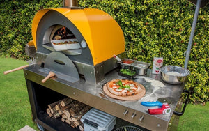 Great Outdoor Pizza Ovens yellow Alfa Ciao outdoor wood-fired pizza oven front view