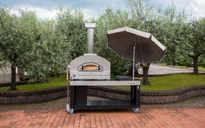 Stainless steel multi-functional base cart for your Great Outdoor Pizza Oven with plenty of space for food preparation (umbrella not included)