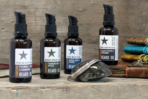 collection of beard essential oil blends