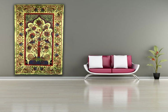 indian wallhanging tree of life green