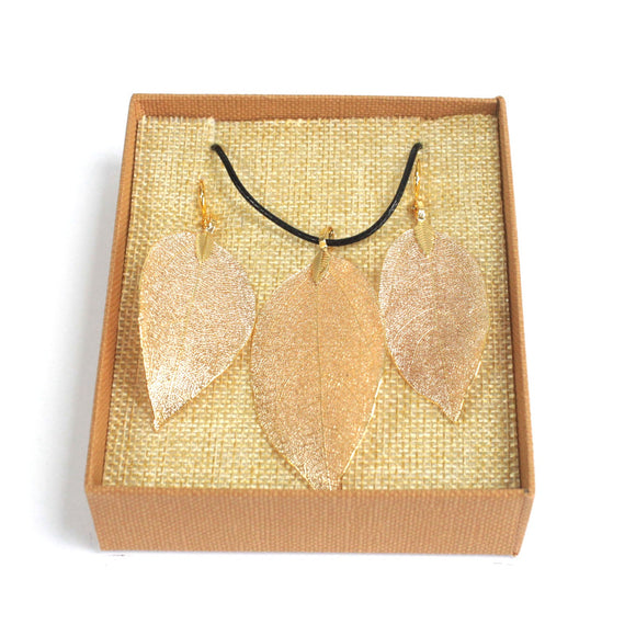 cheeseonbread real leaf necklace and earrings