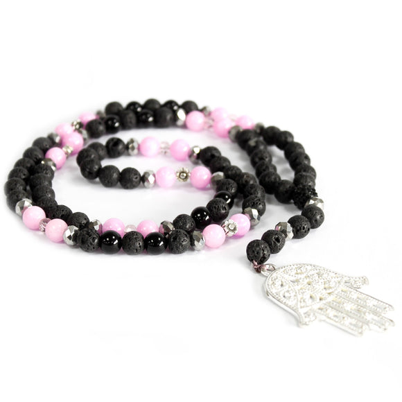 hamsa pink and black lava stone necklace