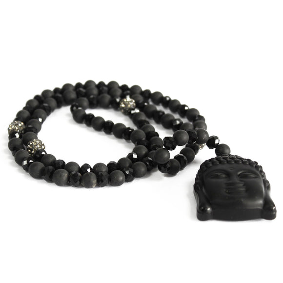 Buddha black stone gemstone necklace