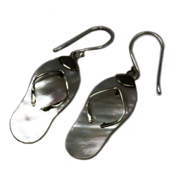 silver and mother of pearl earrings flip flops