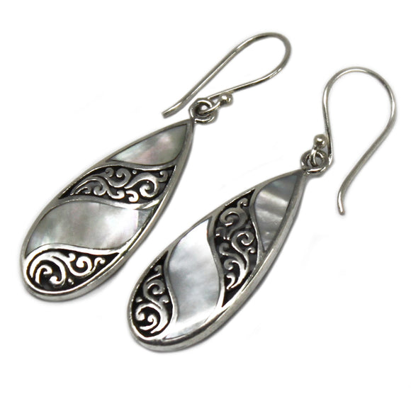 silver and mother of pearl teardrop earrings