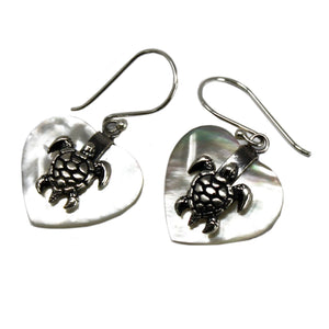silver and mother of pearl turtle earrings