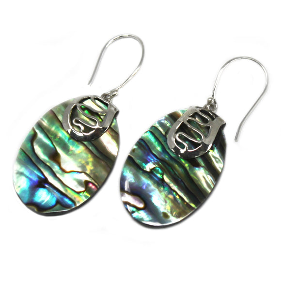 oval abalone and silver earrings