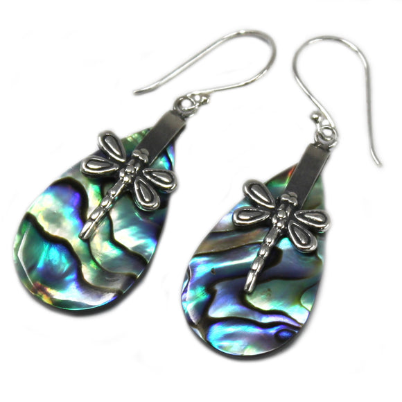 silver and abalone dragonfly earrings
