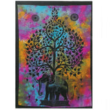 indian cotton wallhanging elephant tree