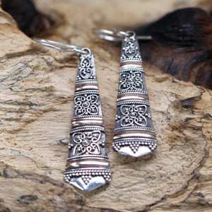 cheeseonbread silver and gold tribal earrings