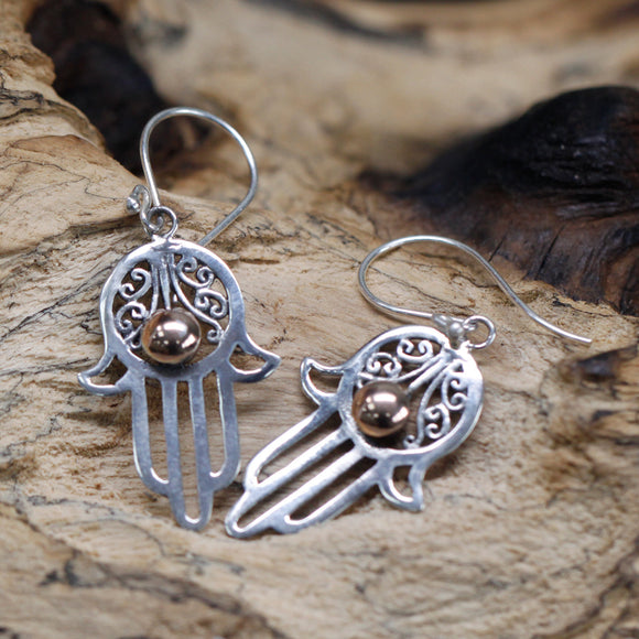 cheeseonbread silver and gold hamsa earrings