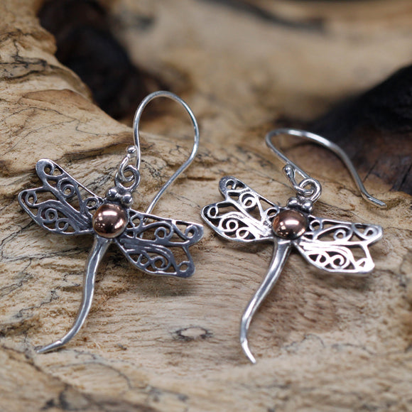cheeseonbread silver and gold dragonfly earrings
