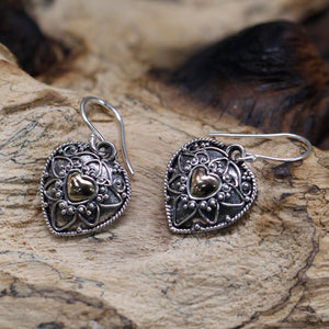 cheeseonbread silver and gold earrings mandala hearts