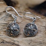 silver and gold round Indonesian earrings