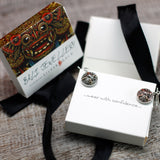 silver and gold indonesian earrings packaging