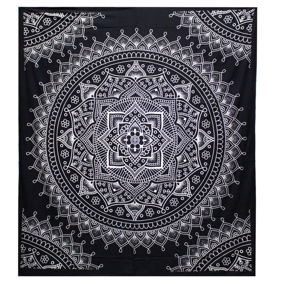 indian double bedspread lotus flower