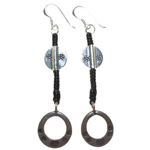 silver and black waxed ring earrings