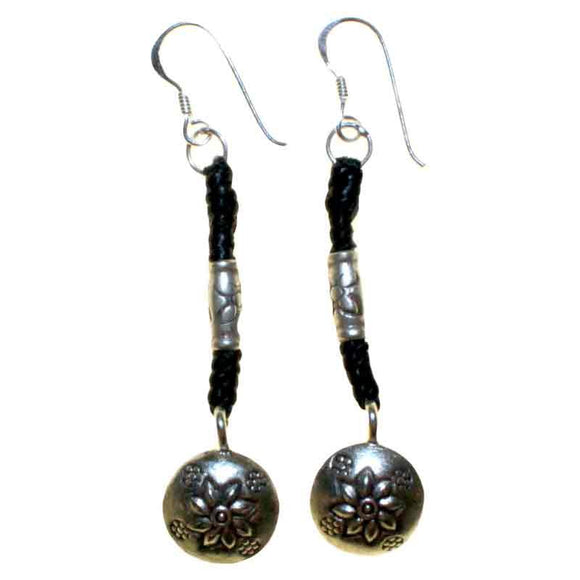 silver and black waxed flower earrings