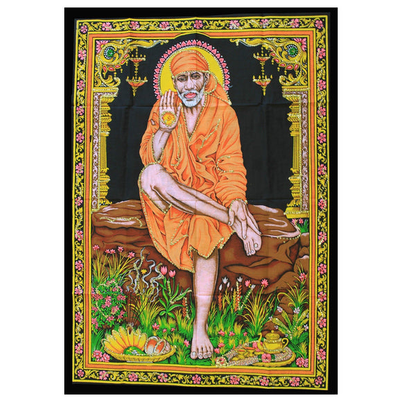 indian cotton wallhanging sai baba