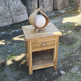 handmade coconut lamp on drawers