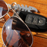 car keys and sunglasses
