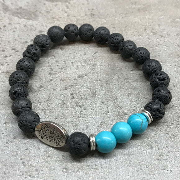 cheeseonbread lava stone bracelet turquoise