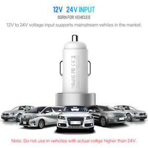 ROCK 5V 3.4A Dual USB Car Charger w/ Digital Display Voltage Monitoring - VixBee