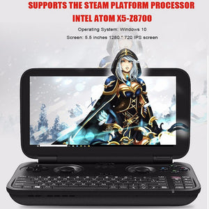 GPD Win Gamepad Laptop NoteBook Tablet PC 5.5 inch Game Console Intel Atom X7 Z8700 Windows 10 OS 4G/64GB Quad Core 2.4GHz Gorilla Glass 1280*720 - Black - VixBee