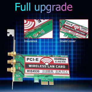 ALLOYSEED 802.11 b/g/n 450Mbps Wireless 2.4G/5G WiFi PCI-Express Adapter - VixBee