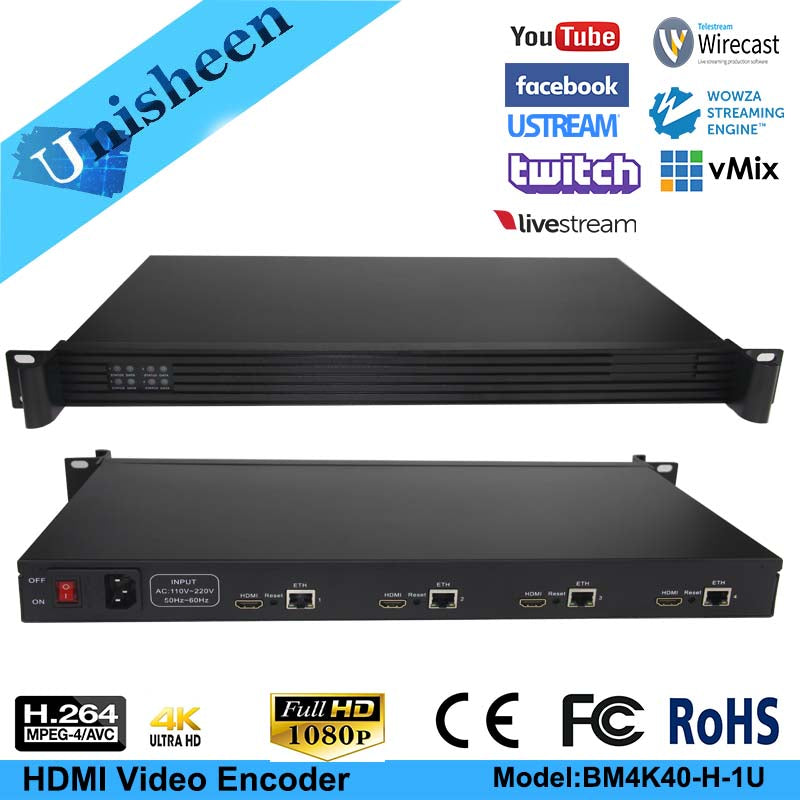 Unisheen BM4K40-HDMI-1U MPEG-4 AVC/H.264 4K UHD 4in1 HDMI Video Encoder - VixBee