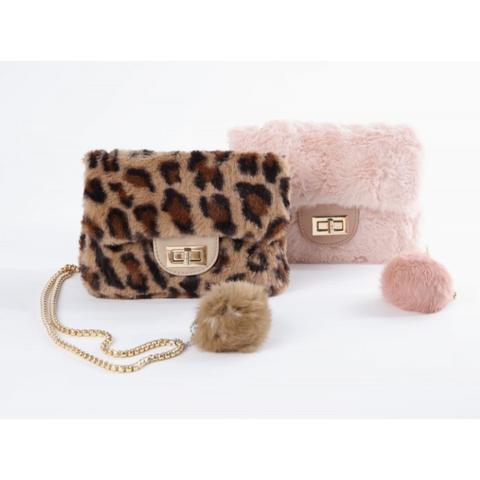 Borsa bambina in ecopelliccia con pon pon e tracolla color oro Fun&Fun - Fashion4kids016