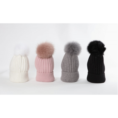 Cappello bimbo bimba pon pon in ecopelliccia removibile Fun&Fun - Fashion4kids016