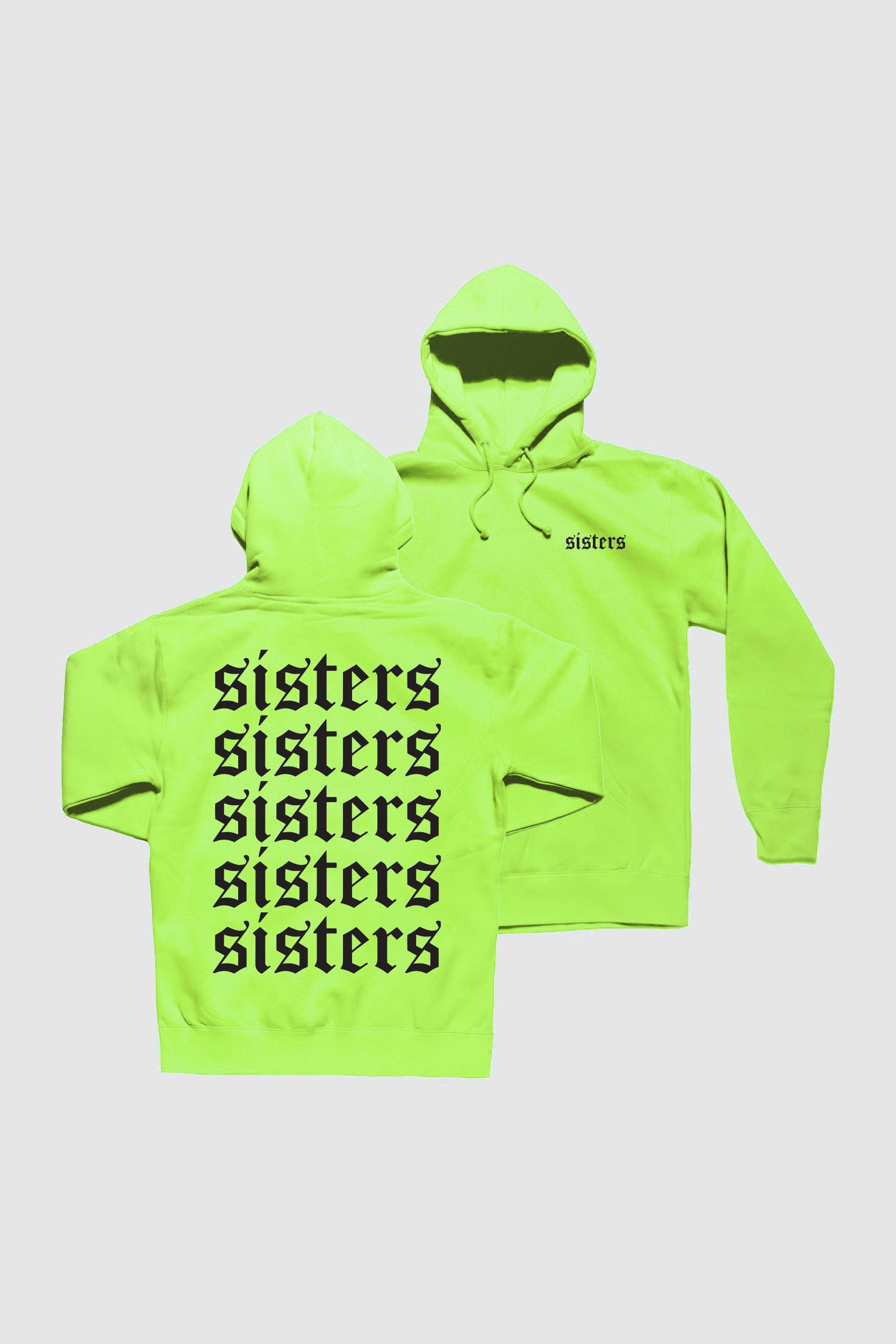 Sisters Originals Repeating Neon Yellow Hoodie