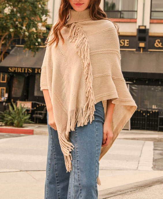 Button neck poncho