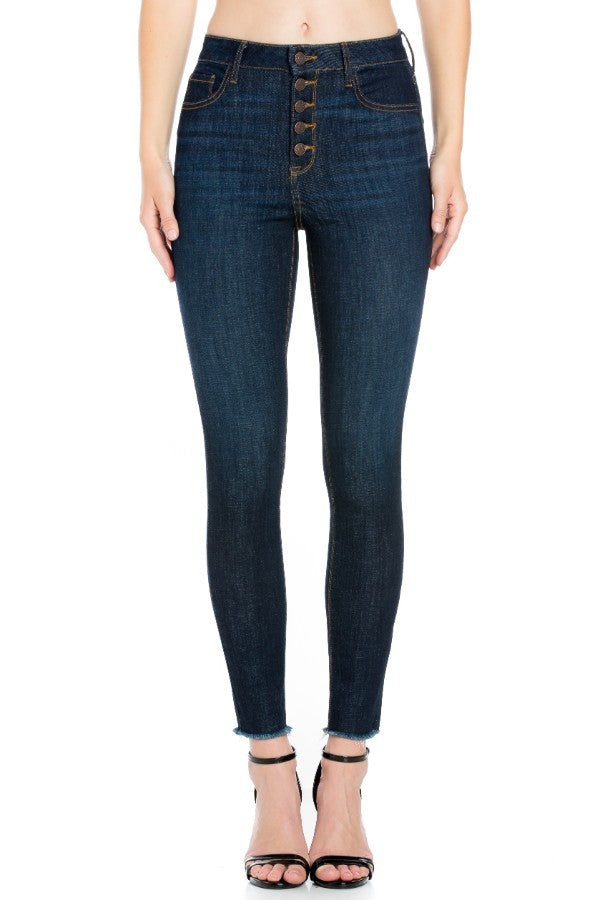 CELLO High Rise Exposed Button Dark Wash Skinny